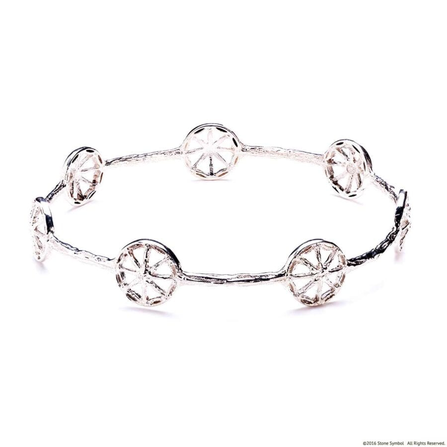 Unearthed Symbol Bangle White Gold