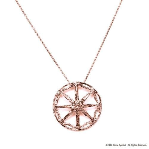 """Kosmima Unearthed Pendant with 18"""" Chain Rose Gold"""