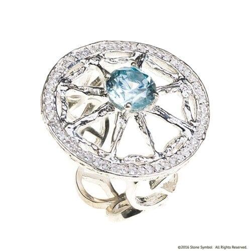 Blue Zircon Unity Ring Stone Symbol Jewelry