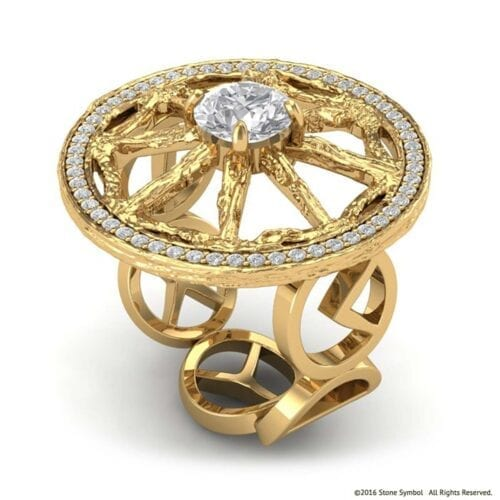 Diamond Unity Ring Yellow Gold Stone Symbol Jewelry