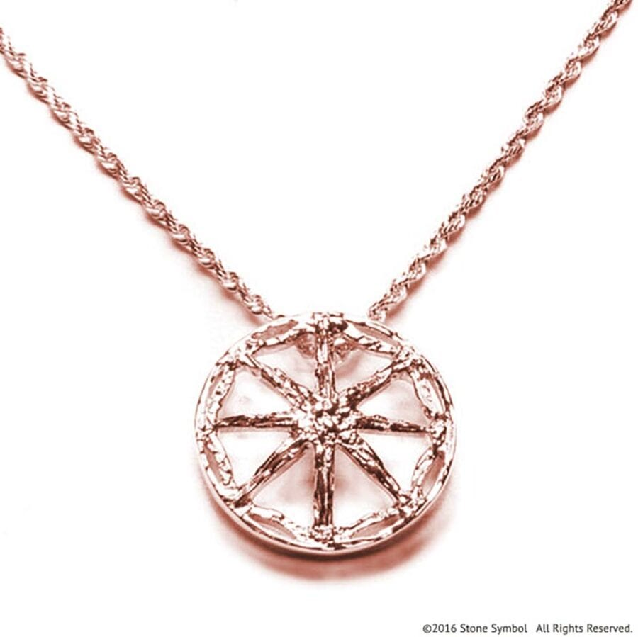 Large Unearthed Symbol Pendant with 30 Inch Chain Rose Gold