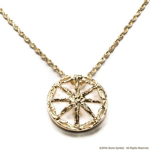 Large Unearthed Symbol Pendant with 30 Inch Chain Yellow Gold
