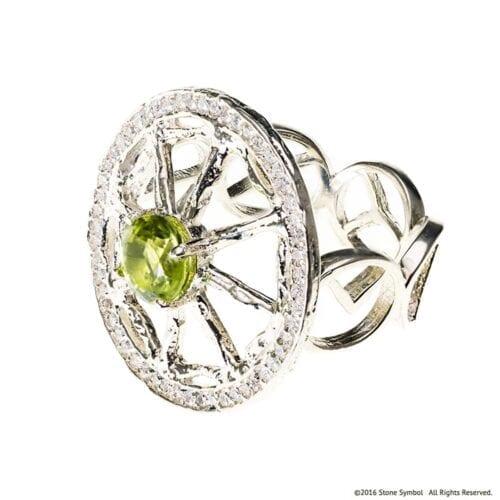 Peridot Unity Ring with Diamonds