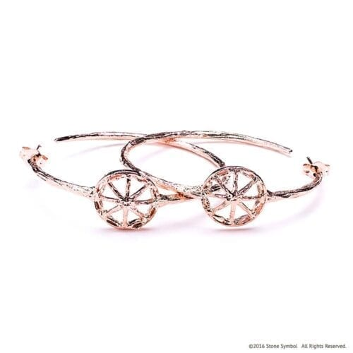 Unearthed Symbol Hoop Earrings Rose Gold
