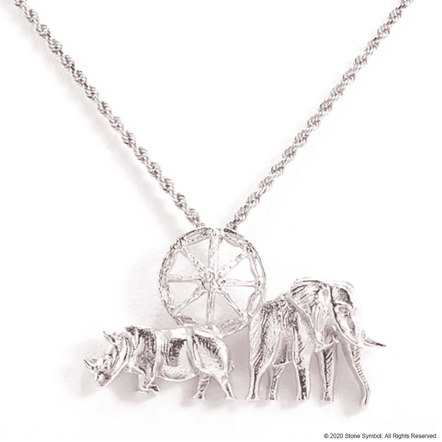 "EDGE Small Elephant Pendant with 18"" Rope Chain in Sterling Silver"