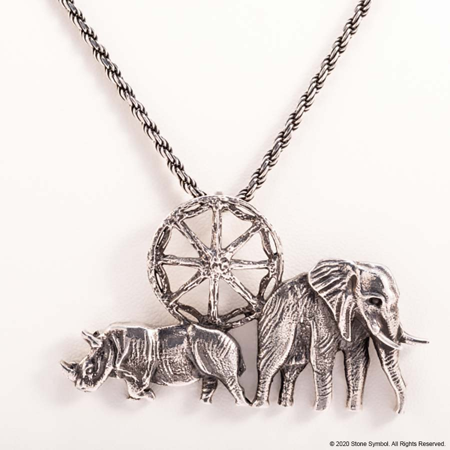 "EDGE ELEPHANT PENDANT WITH 18"" CHAIN STERLING SILVER ANTIQUED"