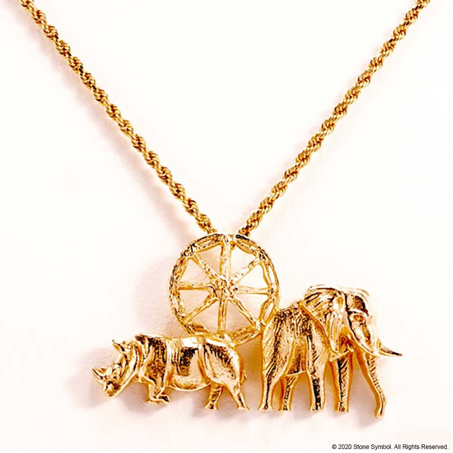 "EDGE Small Elephant Pendant with 18"" Rope Chain in Yellow Gold"