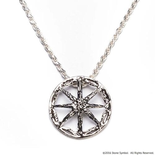 Men's Unearthed Symbol Pendant with 24in Rope Chain Antiqued Sterling