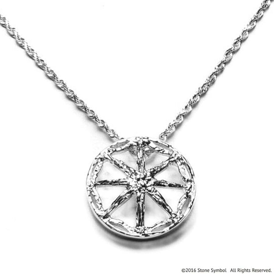 Men's Unearthed Symbol Pendant with 24in Rope Chain Sterling Silver