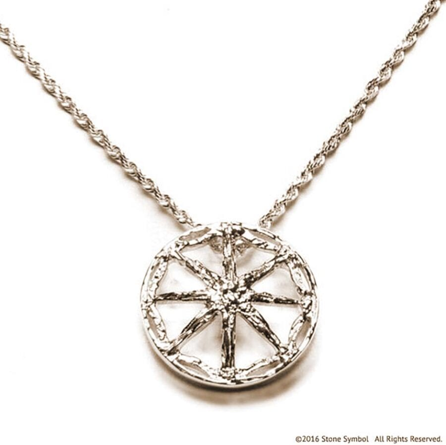 Men's Unearthed Symbol Pendant with 24in Rope Chain White Gold