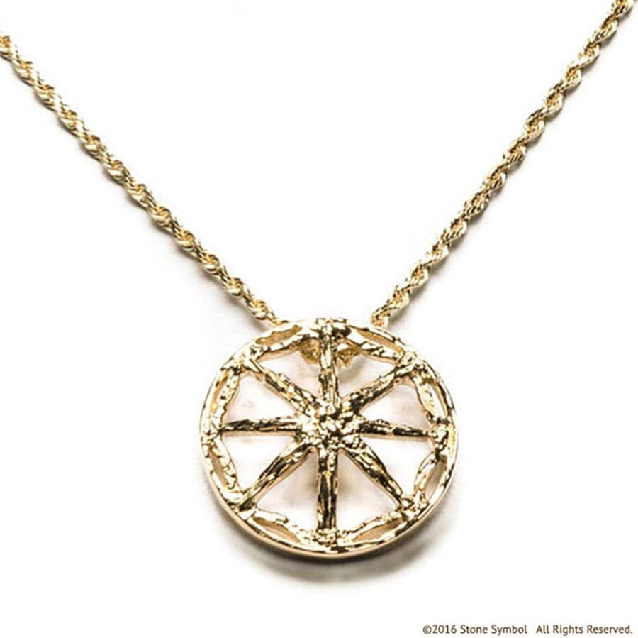 Men's Unearthed Symbol Pendant with 24in Rope Chain Yellow Gold