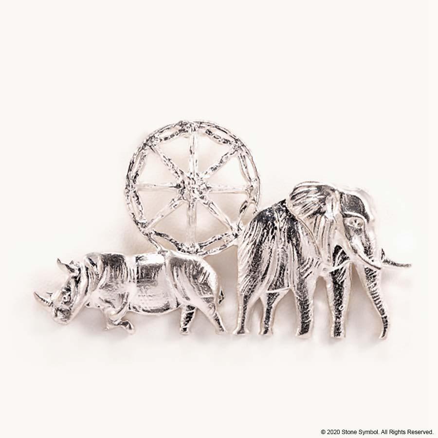 EDGE Elephant Rhino Pendant White Gold 18 Carat