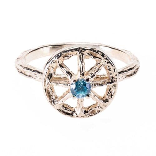 Essential Unearthed Ring with Blue Zircon Gem in White Gold
