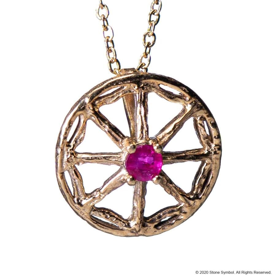 Mini Unearthed Ruby Pendant in Brass
