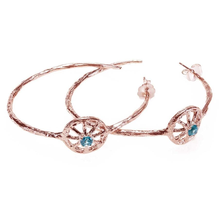Unearthed Symbol Hoop Earrings with Blue Zircon