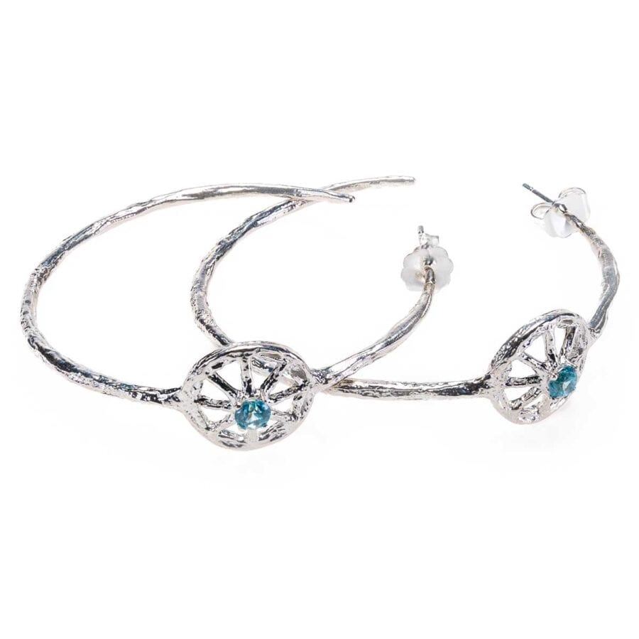 Unearthed Symbol Hoop Earrings with Blue Zircon Sterling Silver