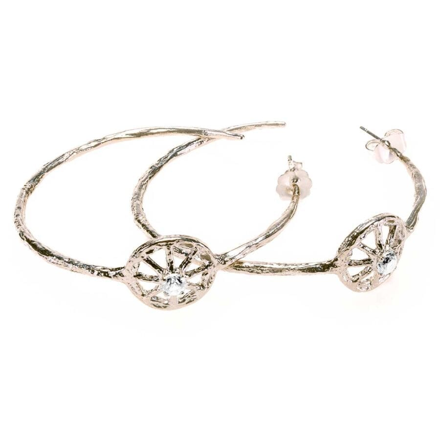 Unearthed Symbol Hoop Earrings with Diamond Sterling Silver