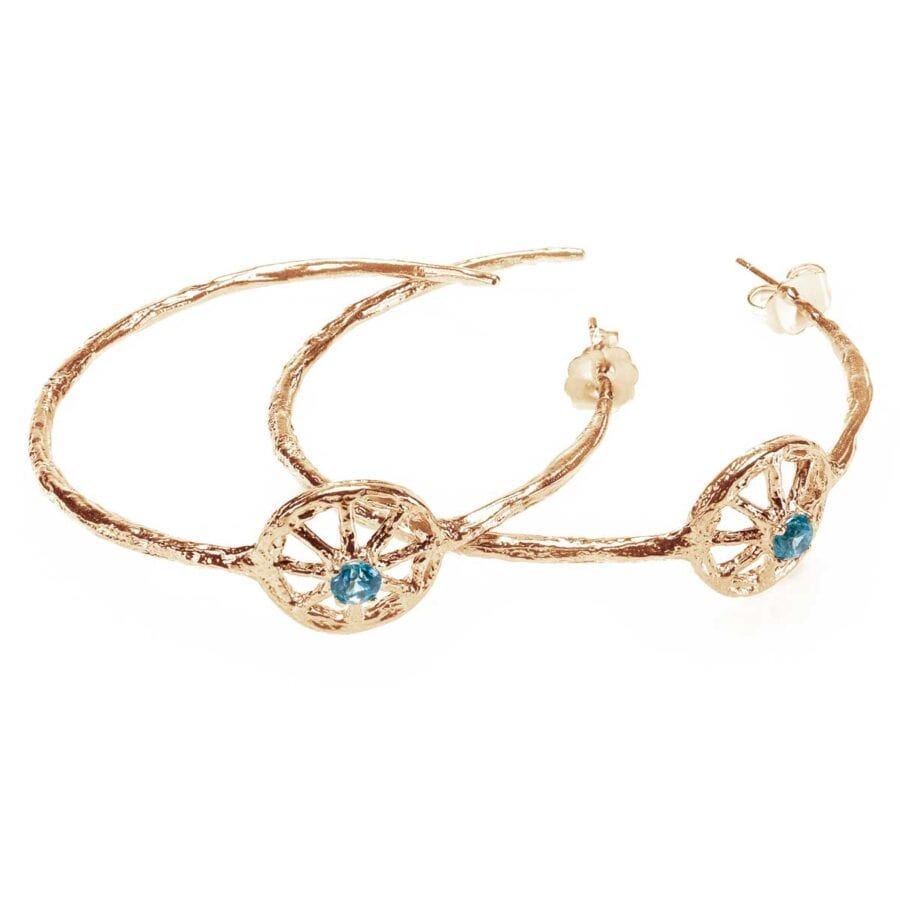 Unearthed Symbol Hoop Earrings with Blue Zircon Yellow Gold