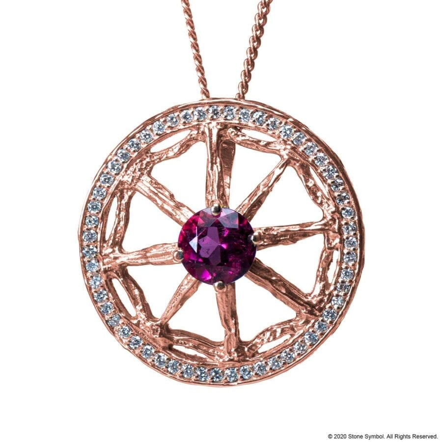 Unearthed Pendant with Pink Tourmaline and Diamond with 24 inch Chain in Rose Gold