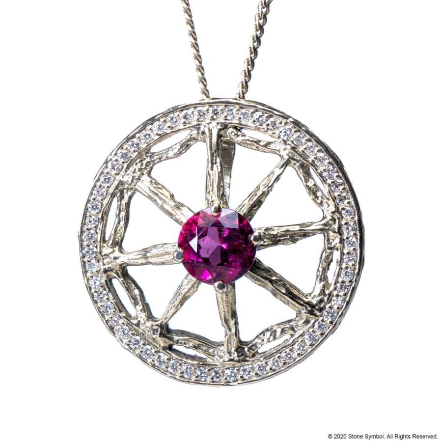 Unearthed Pendant with Pink Tourmaline and Diamond with 24 inch Chain in Sterling Silver