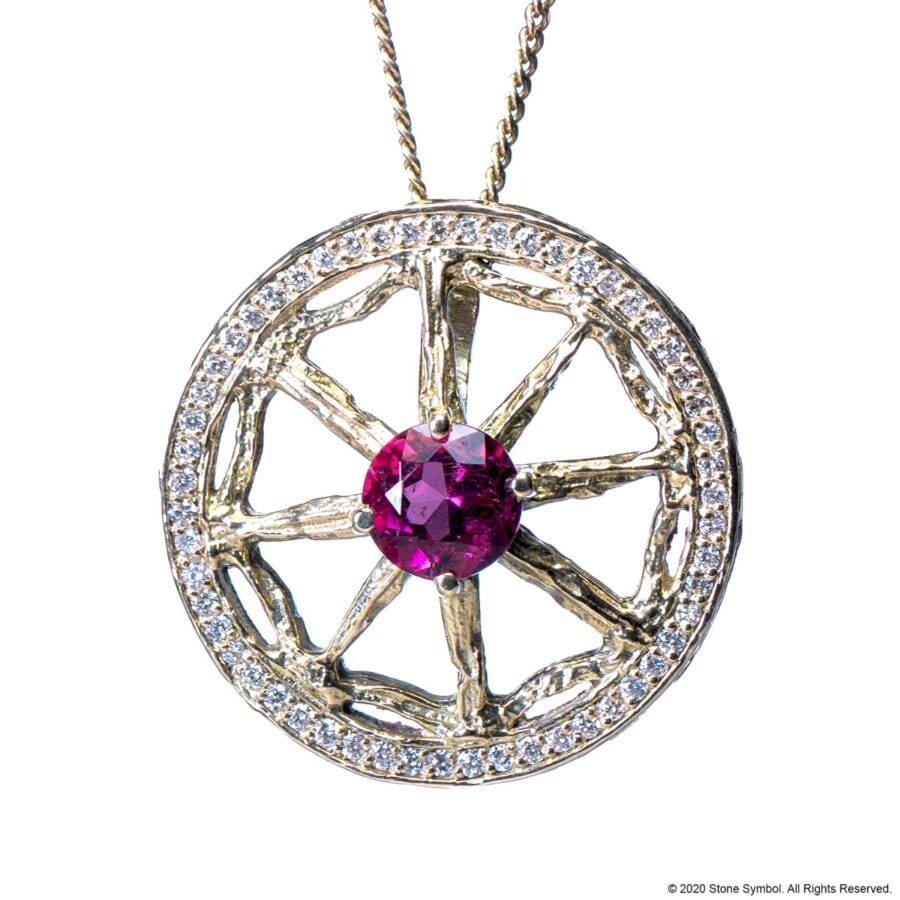 Unearthed Pendant with Pink Tourmaline and Diamond with 24 inch Chain in White Gold