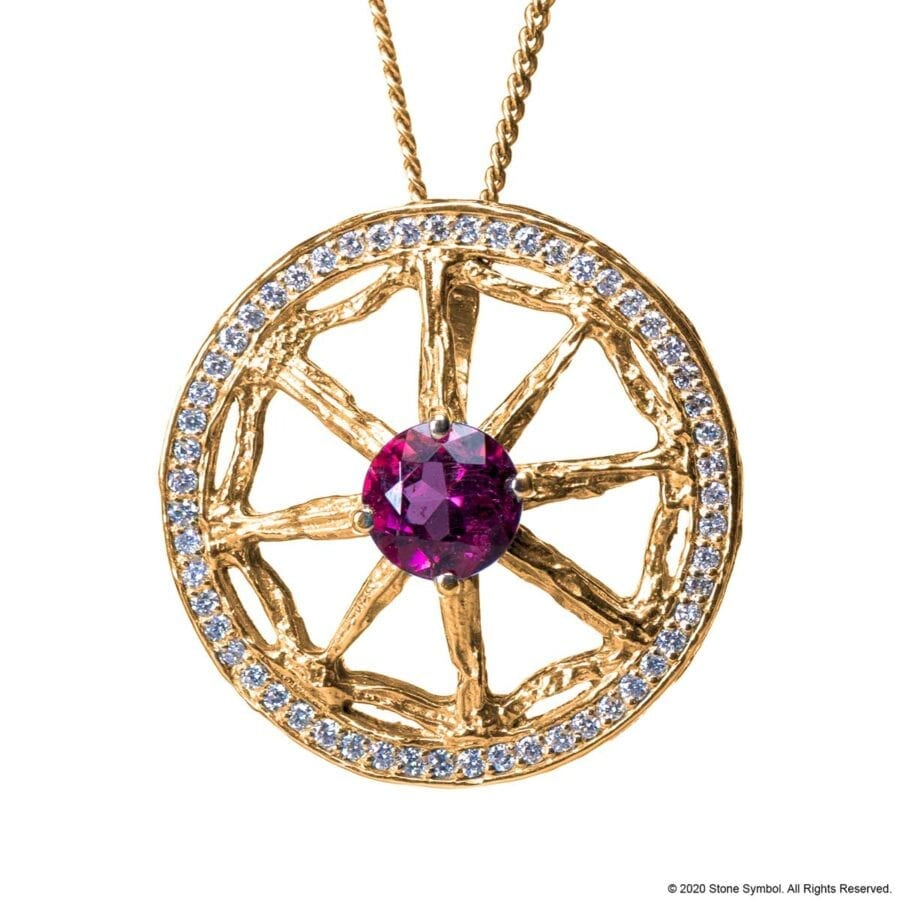 Unearthed Pendant with Pink Tourmaline and Diamond with 24 inch Chain in Yellow Gold